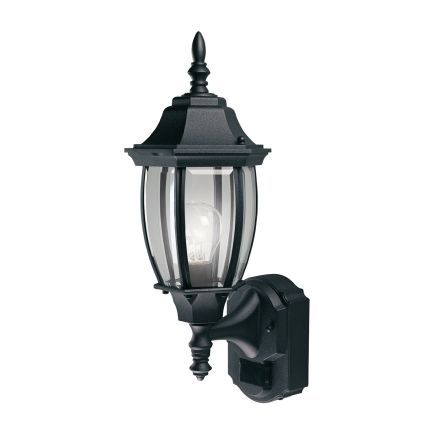 Heath zenith coach light black aluminum motion sensing a19 120 volts 100 wattshz 4192 bk motion activated lighting