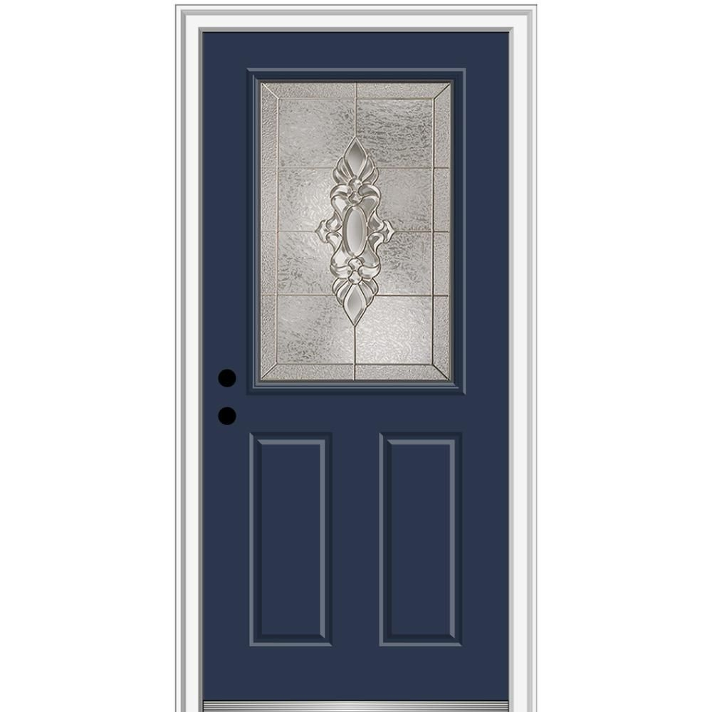 Mmi Door 36 In X 80 In Heirlooms Right Hand Inswing 1 2 Lite Decorative 2 Panel Painted Steel Prehung Front Door Naval Decorative Hinges Exterior Doors Classic Doors