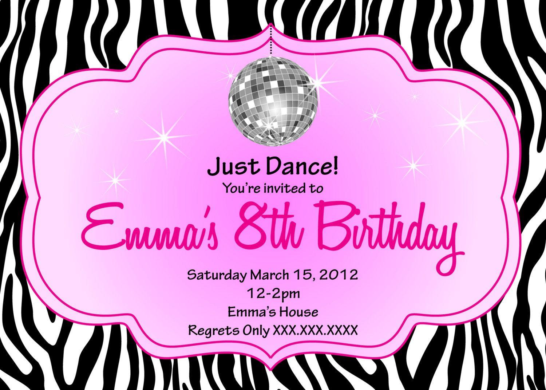 Zebra Disco Diva Birthday Printable Invitation. $10.00, via Etsy ...