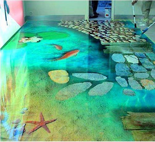 Attractive Self Leveling 3D Flooring Options   3D Bathroom Floor