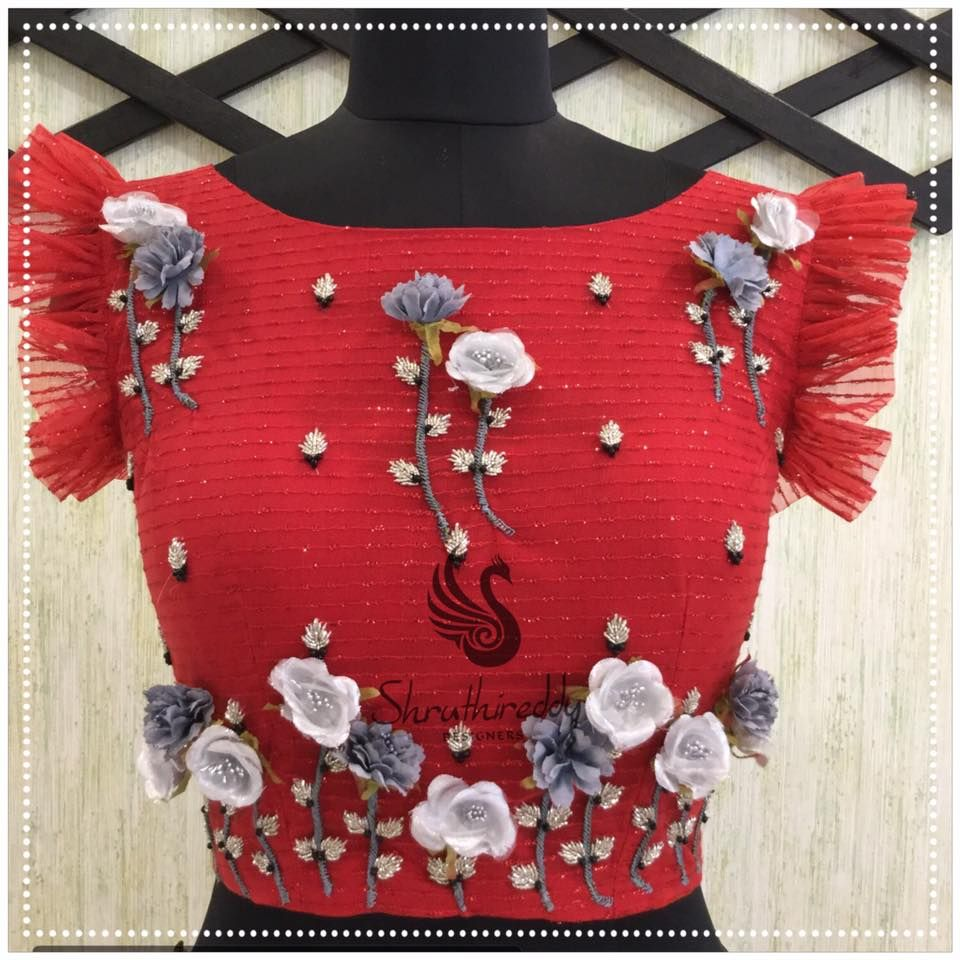 Red lace wedding dress october 2018 Gorgeous red blouse to match with all parties with beautiful flowers