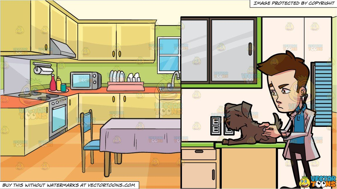 Clipart Cartoon A Veterinarian Checking On A Sick Dog And A