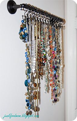 Shower hooks on rod for necklaces - I'd need about 40