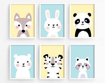 Sale 50 OFF   Printable Nursery Art Set of 6    Fo #Affiche #animaux #Art #Baby … Bebek Odası