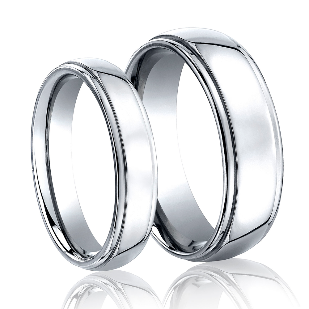 His and Hers Cobalt Wedding Band Set by Benchmark at