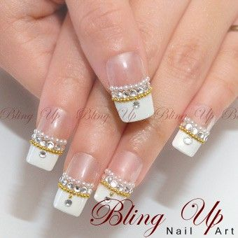 Bling up inc french nail art tip in black or white with bling up inc french nail art tip in black or white with swarovski rhinestones prinsesfo Choice Image