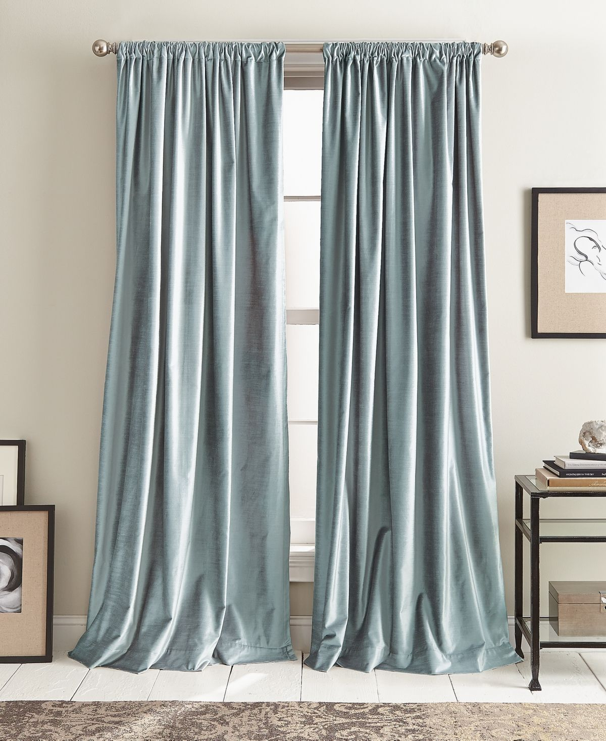 Dkny Modern Textured Velvet 50 X 108 Pole Top Pair Of Window Panels Reviews Window Treatments Blinds Macy S