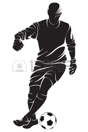 Football (soccer) player with ball, isolated. Vector silhouette photo