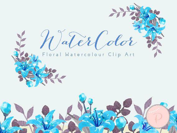 Blue Watercolor Flower Floral Wreath Clip By MagicalStudio