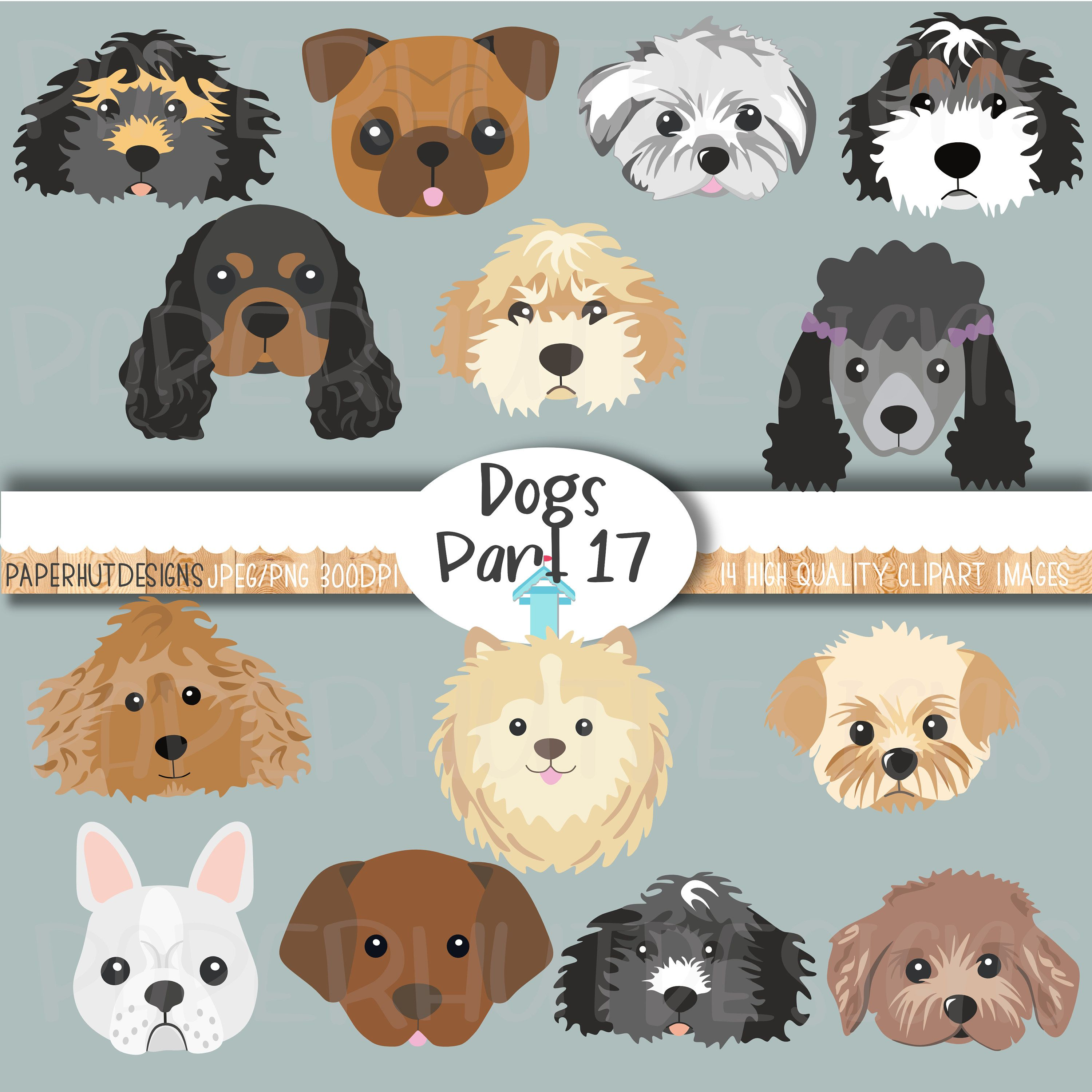 Dog Faces Clipart Cute Puppy Faces Clipart Dog Clip Art Puppy Etsy Dog Clip Art Clip Art Dog Face