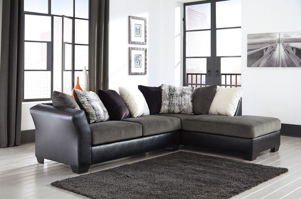 Get Your Armant   Ebony   2 Pc RAF Chaise Sectional At Neighborhood Closet,  Waverly IA Furniture Store.
