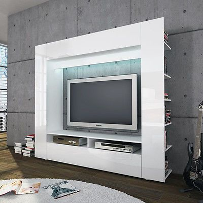 High Gloss Tv Wall Unit Entertainment Stand Olaf White Black Grey Red Orange In Home Furniture Diy Stands Ebay