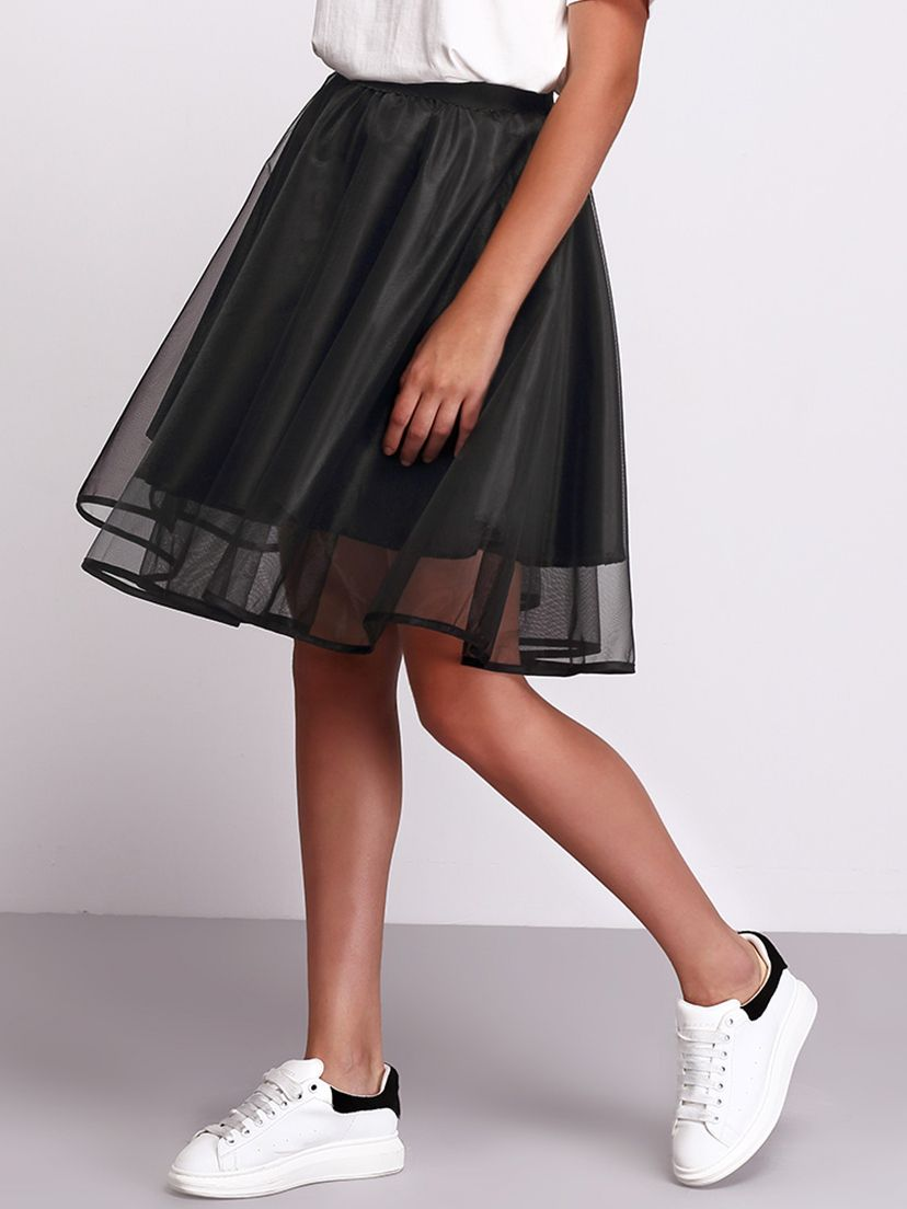 5ba5b97563ce Shop Black Sheer Mesh Flare Skirt online. SheIn offers Black Sheer Mesh  Flare Skirt & more to fit your fashionable needs.
