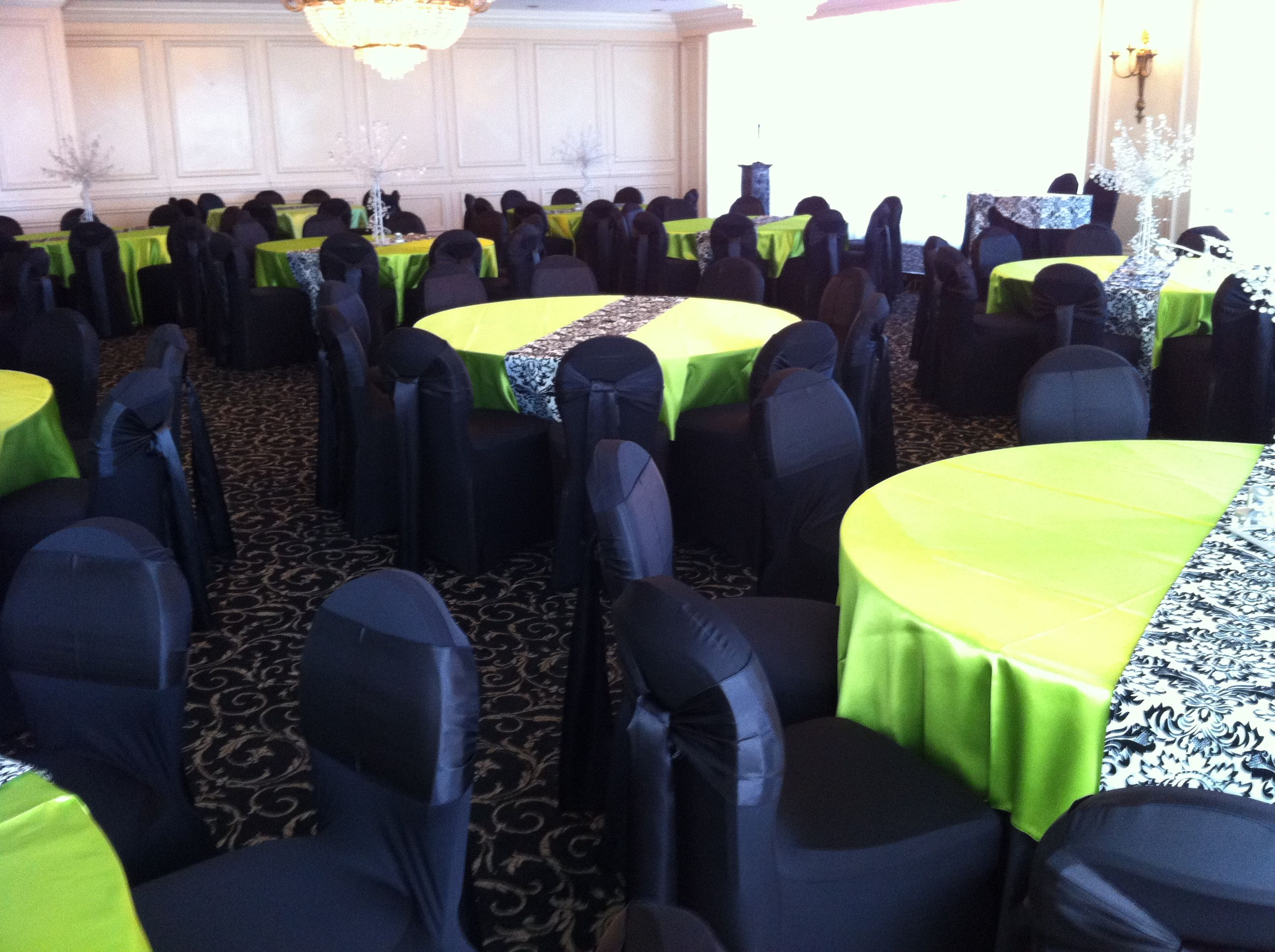 Swell Black On Black With Lime Green And Damask Table Runner Pabps2019 Chair Design Images Pabps2019Com