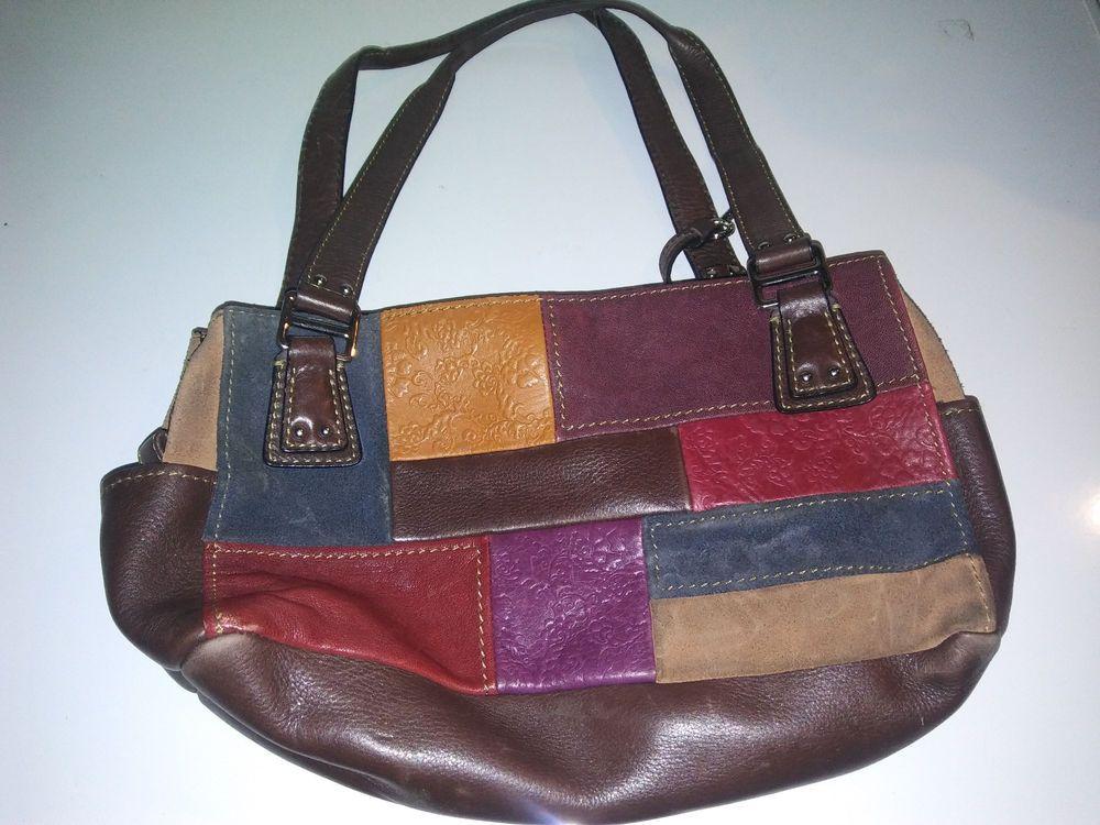 Vintage Fossil Patchwork Leather Handbag  Fossil  Satchel  7de66c49447dc