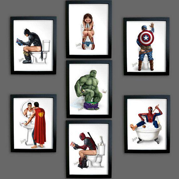 Photo of SUPERHERO BATHROOM Set of 5 * Print Aquaman Thor Wolverine Spiderman Wonder Woman Captain America Deadpool Batman Pooping Captain Marvel