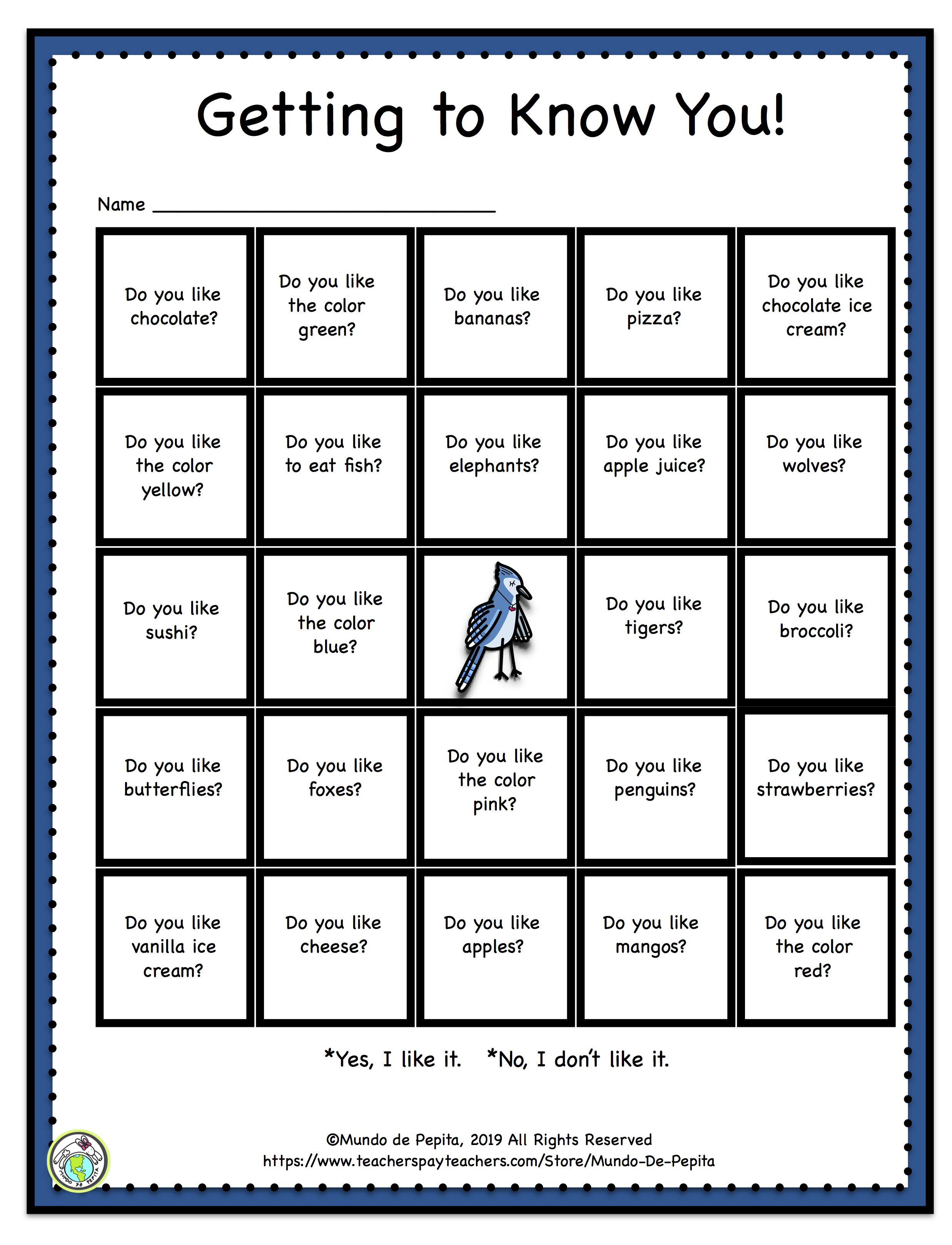 Getting To Know You Bingo Game In English