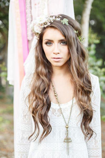Peinados De Novia Cabello Suelto Con Flores Pelo Pinterest - Pelo-suelto-novias