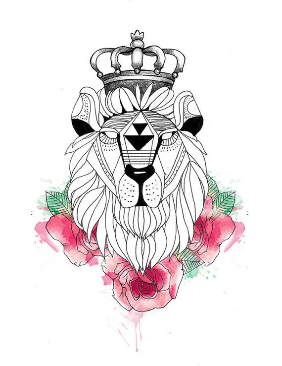 Geometric Lion Head In Crown And Pink Flowers Tattoo Design Geometric Lion Pink Flower Tattoos Dog Tattoos