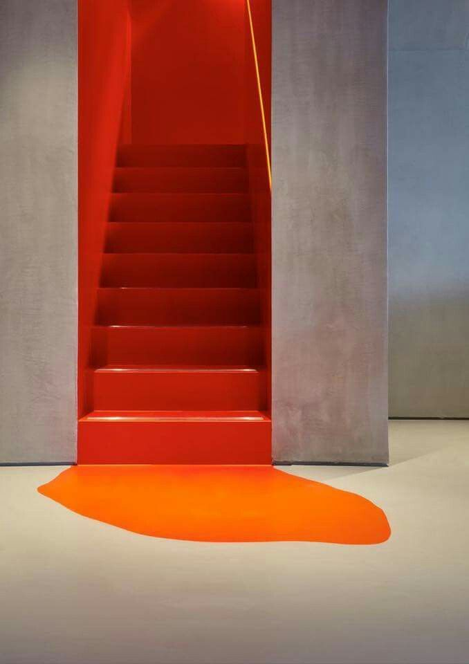 Stairs Orange Spill Paint Acrylic Cement Contrast Unicolor