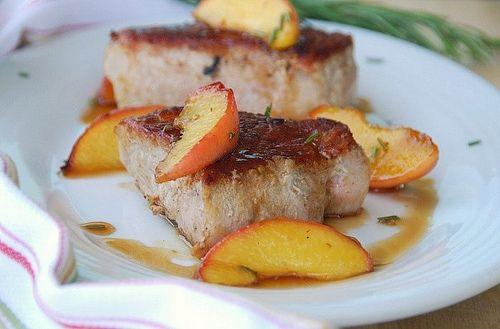 boneless pork chops with rosemary peaches(im adding fresh basil to this)