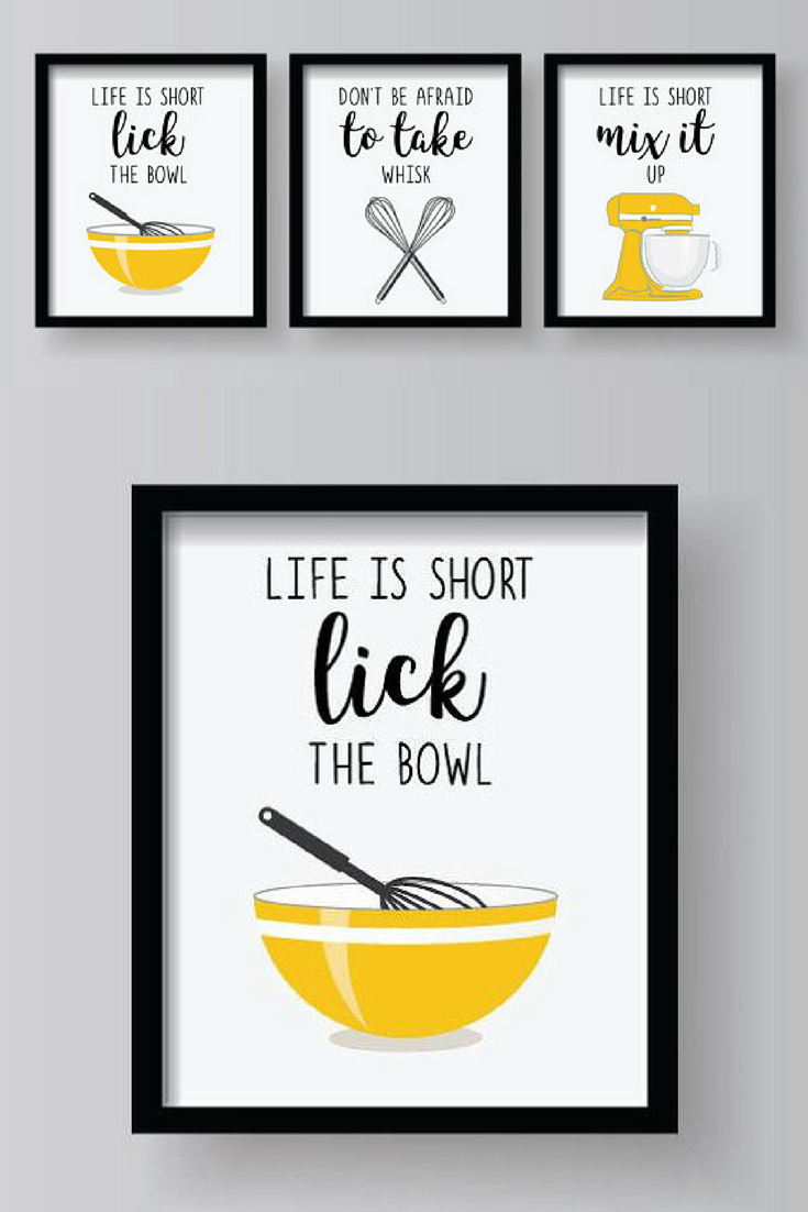 These are cute kitchen printable signs to decorate wtih yellow