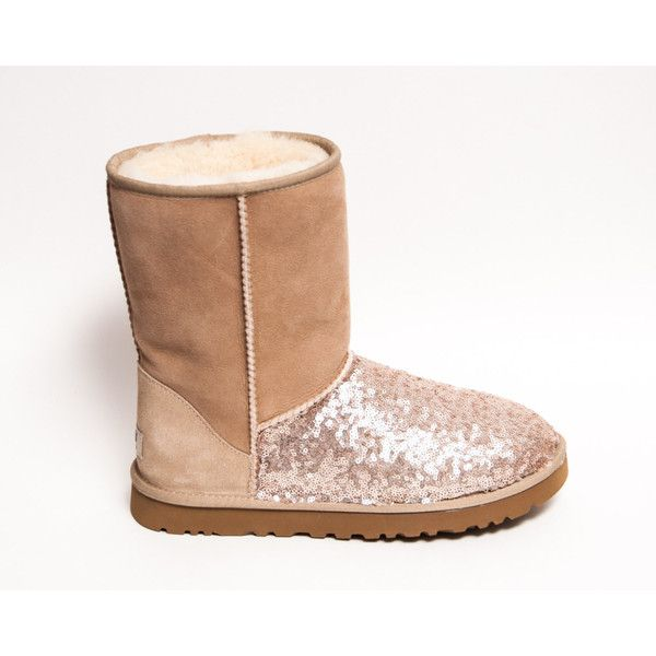 Sequin Hint of Sparkle Champagne Gold Ugg Classic Short Fuzzy Custom... ($200) ❤ liked on Polyvore featuring shoes, boots, ankle booties, silver, w…