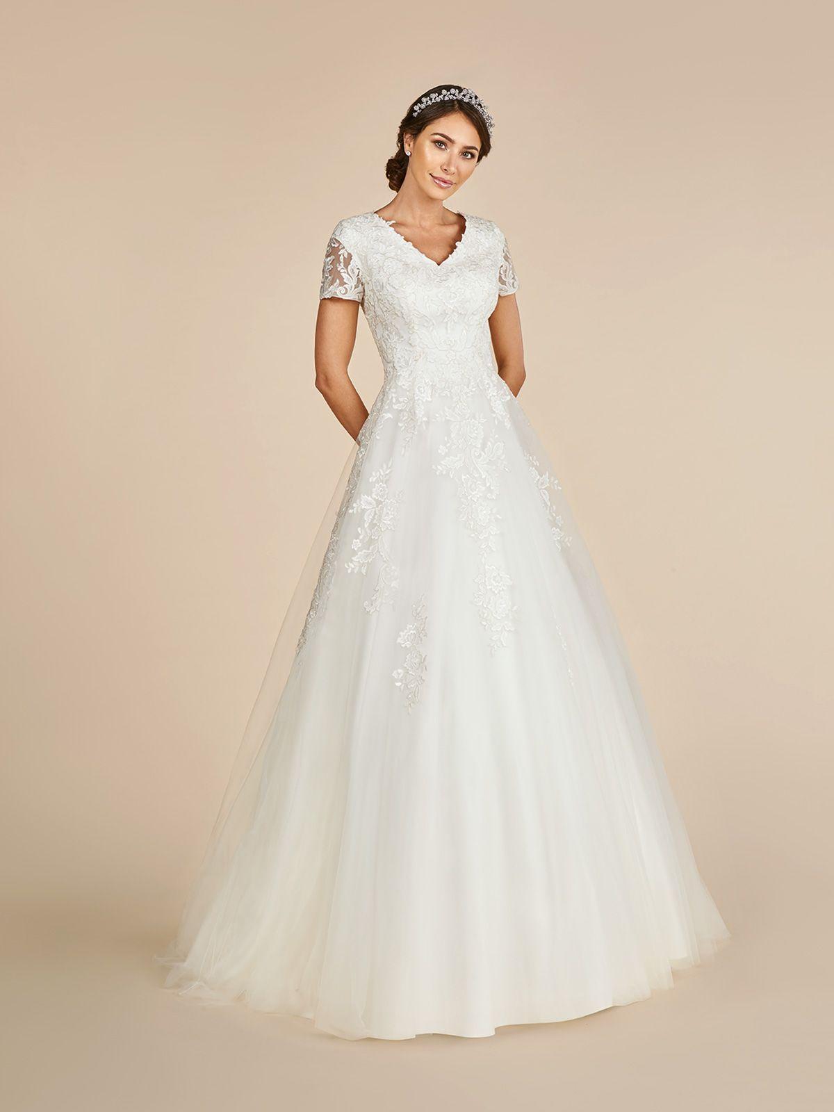 Moonlight Modest Short Sleeved Tulle Wedding Dress Style M5016 Wedding Dress Styles Wedding Dresses Short Wedding Dress [ 1600 x 1200 Pixel ]