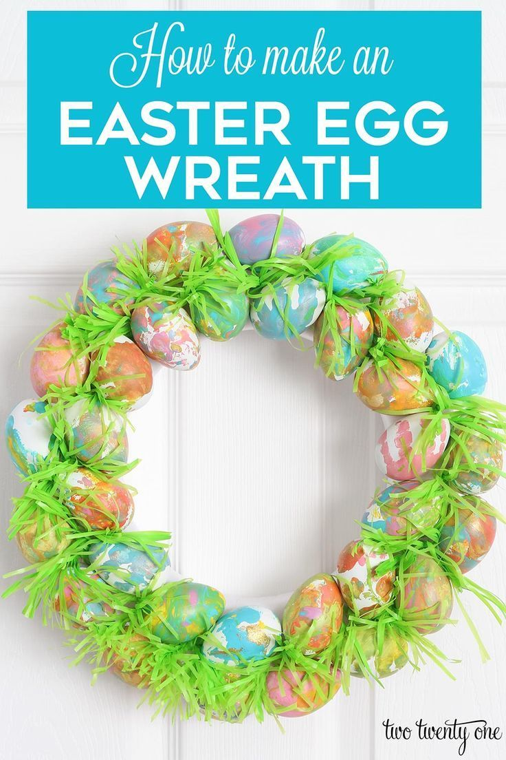 How to make an Easter egg wreath! The perfect kid craft! #easterwreath #easteregg #wreath #kidcraft #eastercraft