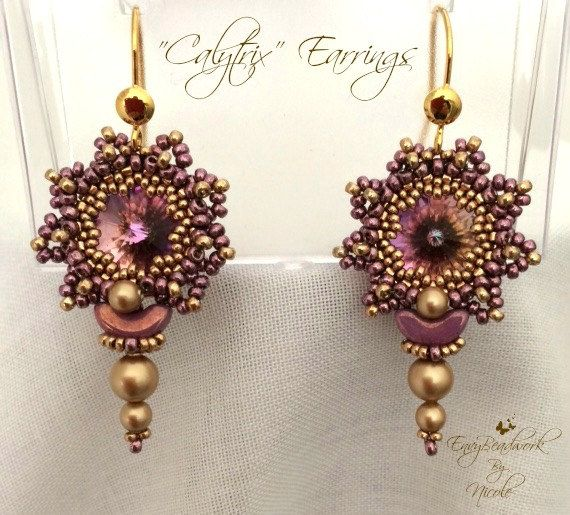 "Beading Pattern: ""Calytrix"" Earrings in English D.I.Y."