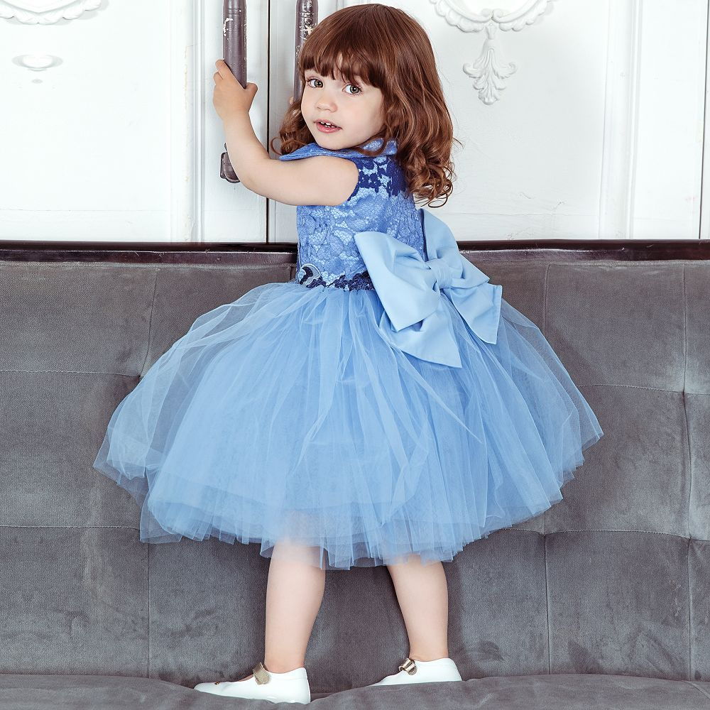 924f81bdc Girls Blue Lace Dress