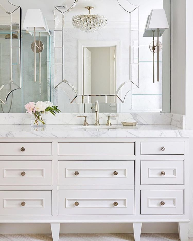 Mirrored Wall And Furniture Style Vanity Help Open The Bathroom