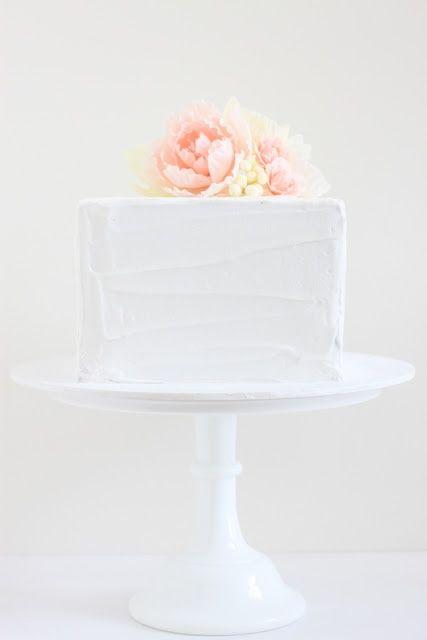 Wedding Cake Square White Pink Yellow Pastel Flowers