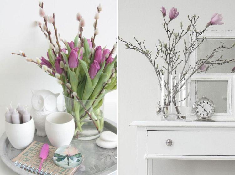 Weidenkätzchen, Lila Tulpen Und Magnolienzweige In Vasen