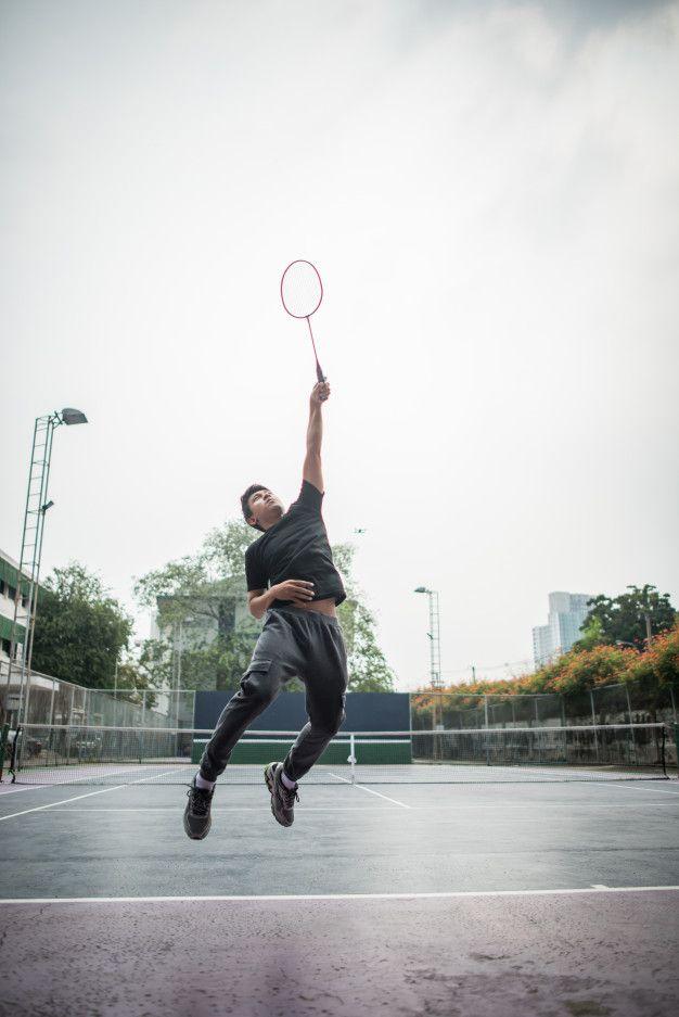 Young Man Playing Badminton Outdoors Man Young Man Young