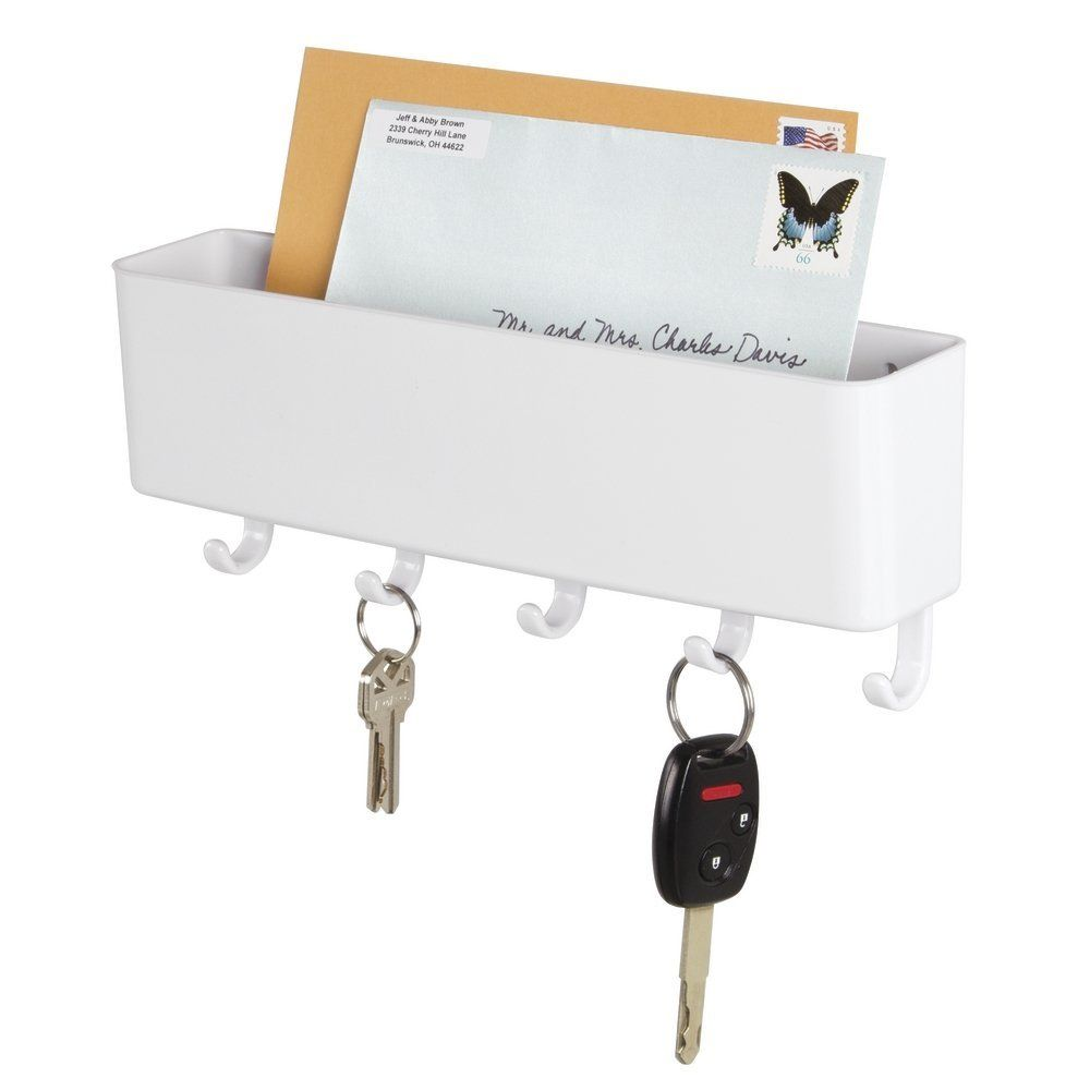 mDesign Mail Letter Holder Kitchen-Wall Mount Key Rack Organizer for Entryway