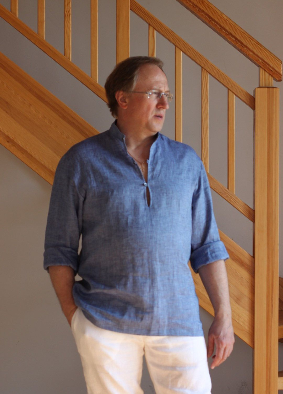 Man linen shirt blue beach wedding party special occasion birthday