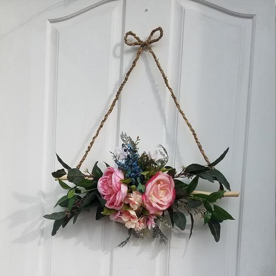 Photo of Mini wreath for front door, triangular wreath, rustic wall decor