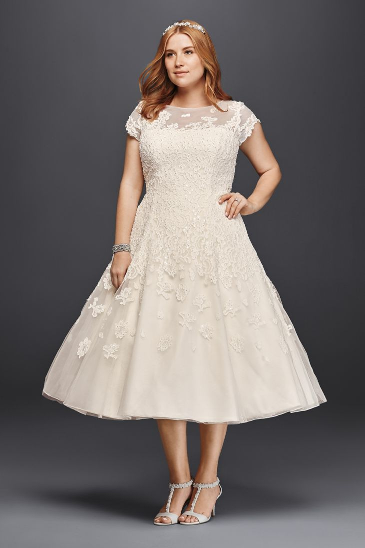 Short wedding dresses plus size  Olegi Cassini Cap Sleeve TeaLength Wedding Dress