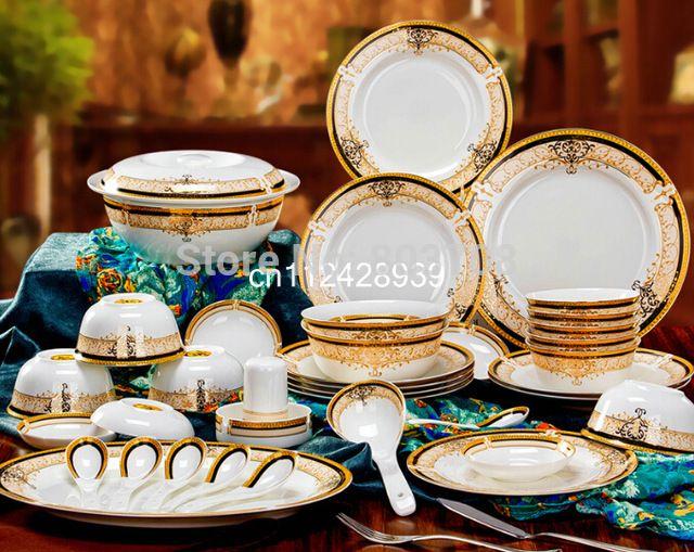 Wholesale Bone China Dinner Set 56pcs 15pcs Ceramic Dinner Set China Tableware Porcelain Dinnerware Set Free Shippi Moveis Decoracao Jantar Aparelhos De Jantar