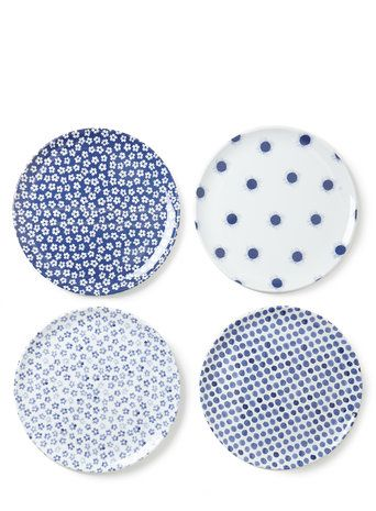 Santorini Set of 4 Round Dinner Picnic Plates  sc 1 st  Pinterest & Santorini Set of 4 Round Dinner Picnic Plates | mark spencer ...