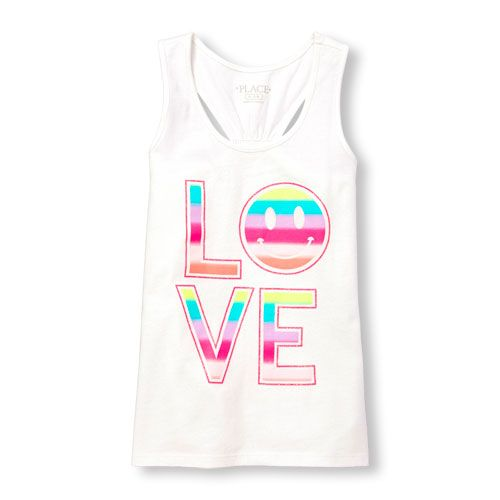 b8cea9fc5e87d Girls Matchables Sleeveless Glitter Tropical Graphic Racer-Back Tank Top -  White - The Children s Place
