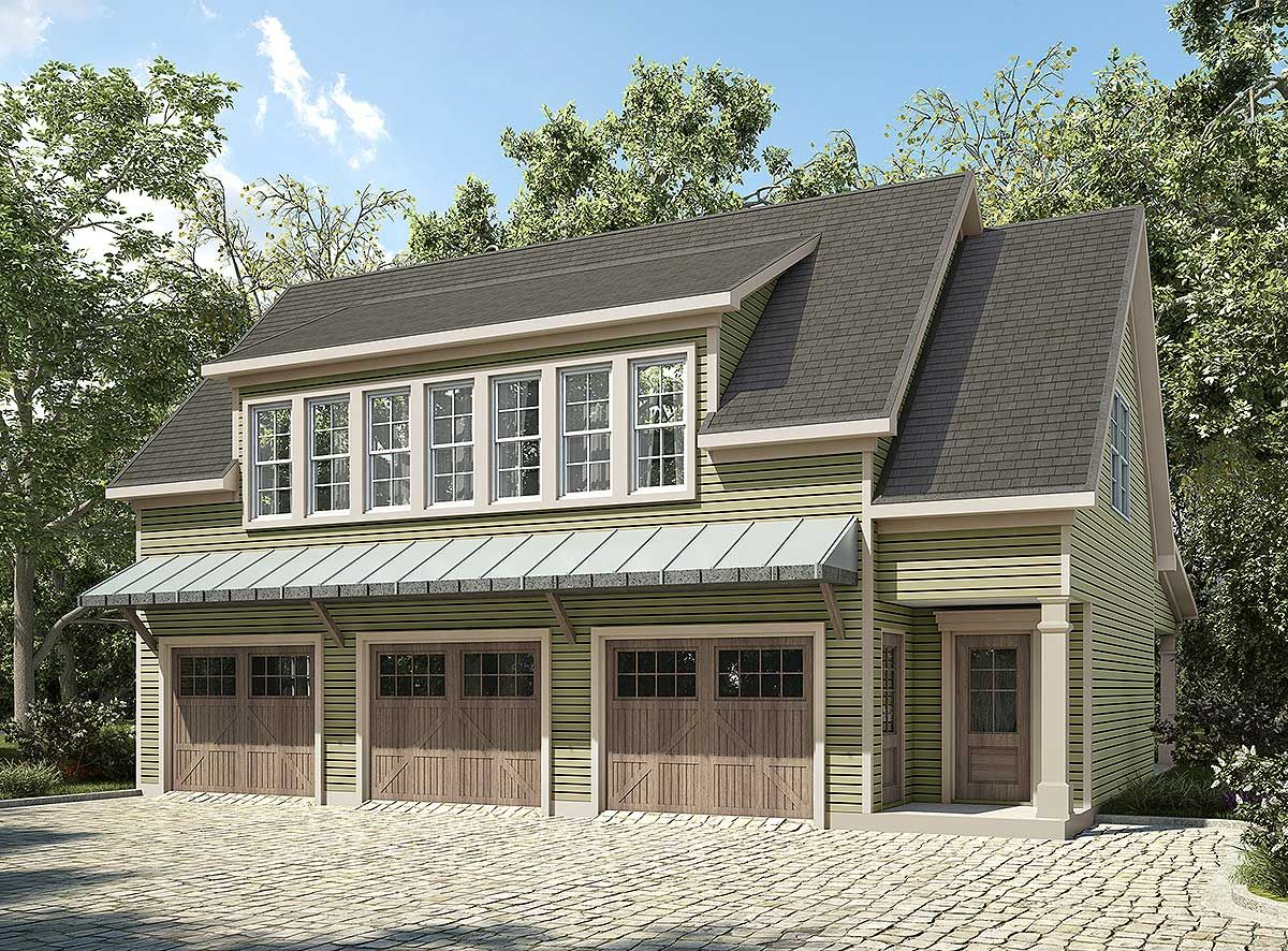 Plan 36057dk 3 bay carriage house plan with shed roof in for Four car garage with apartment