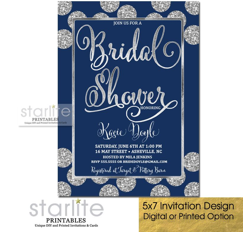 a glittery navy blue bridal shower invitation navy and silver bridal shower invitation http