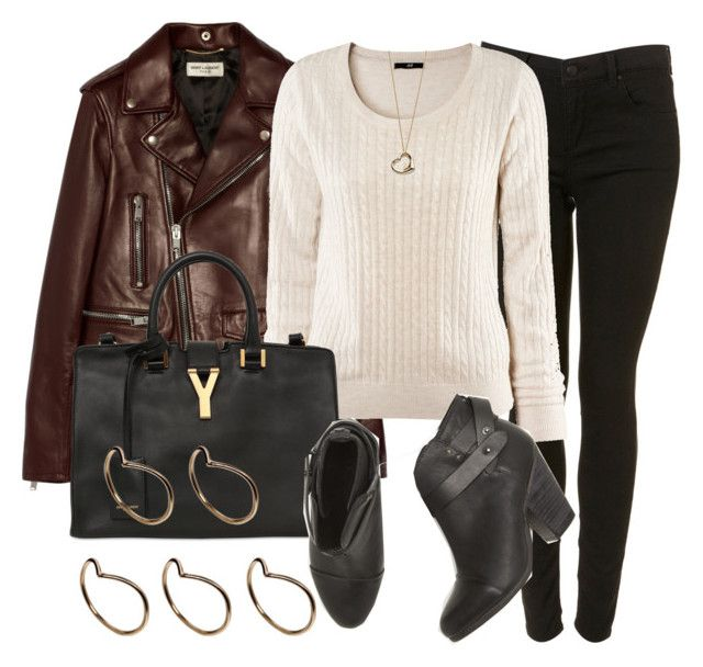 """""""Style #6279"""" by vany-alvarado ❤ liked on Polyvore featuring Yves Saint Laurent, H&M, rag & bone, Pieces and Elsa Peretti"""