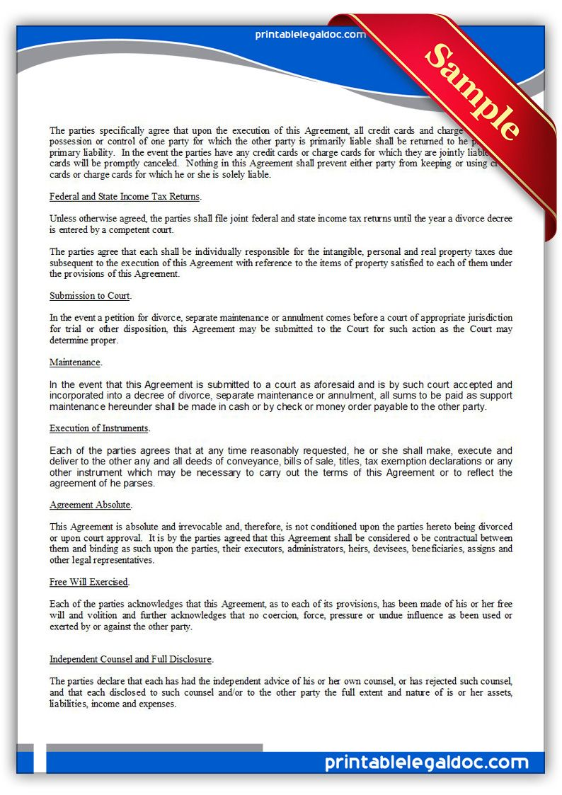 Property Settlement Agreement Legal Forms Separation Agreement Template How To Make Resume Free property settlement agreement template