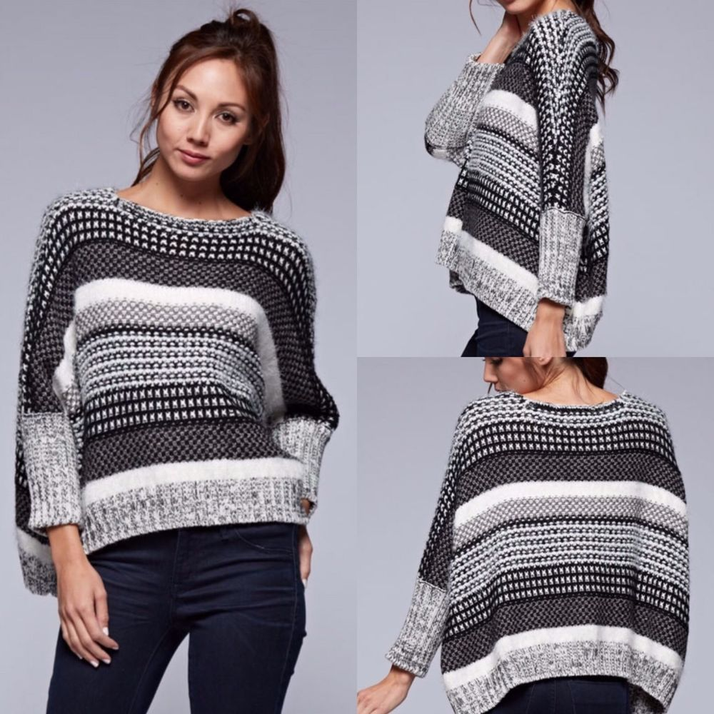 Love Stitch Loose Knit, Slouchy, Multi Textured Cropped Sweater ...