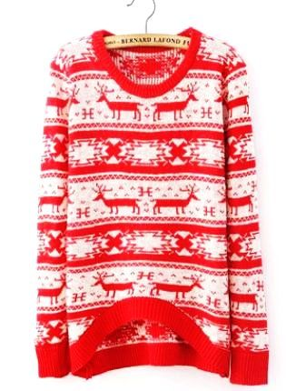 Cute Red Christmas Snowflake Sweater - Tribal Aztec Print Reindeer ...