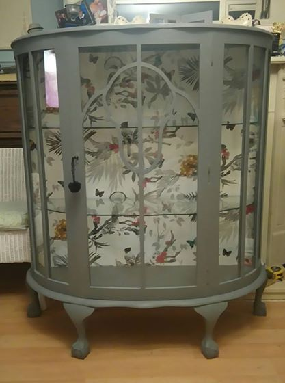 Vintage Glass Bow Fronted Cabinet Grey Chalk Paint Waxed With Bird Paper Background Distressed Furniture Painting Painted Furniture Distressed Furniture