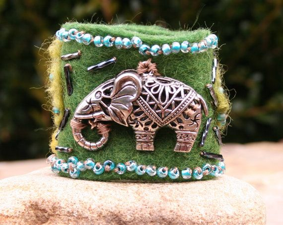 Earthy Rustic Elephant Beaded Fiber Felted Green by MissieRabdau, $70.00